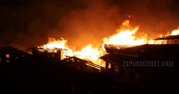 The Tibetan Old Town of Shangri-la was badly destroyed by fire mid night.