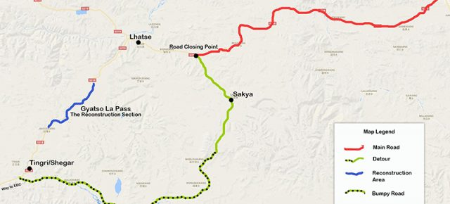 Road Reconstruction at Gyatso La Pass Added 2 More Driving Hours to The Tibet EBC Tours.