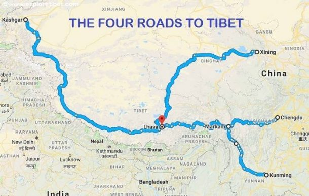 Four Overland Routes to Lhasa