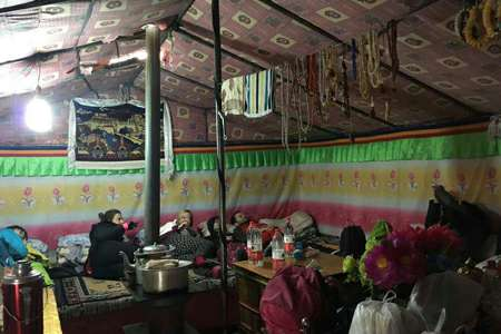 Tibet group tour at Everest Base camp tent guesthouse