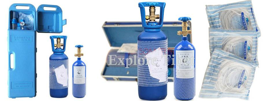 Oxygen tank provided by Explore Tibet