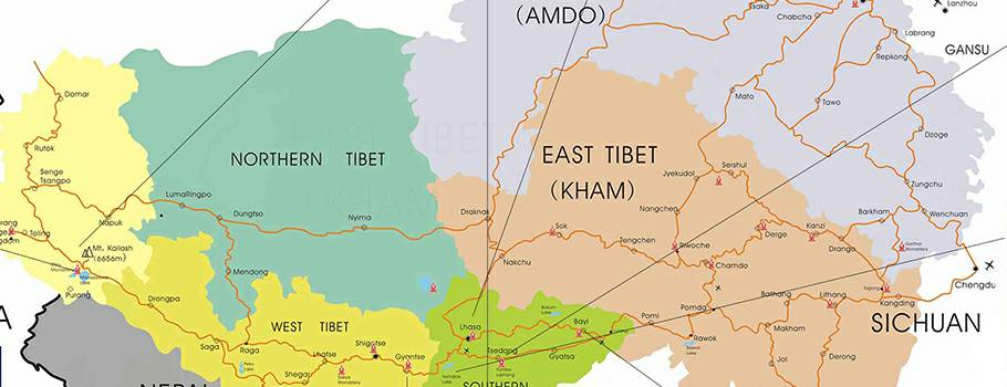 Tibet Lhasa Map by Explore Tibet