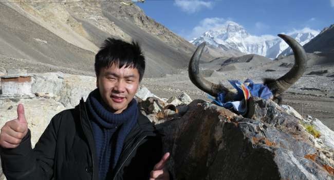 Rex at Everest Base Camp in Tibet