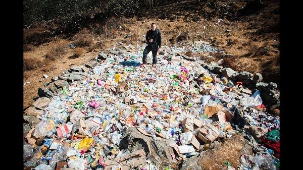 A small collection of the trash that one man picked up on Everest in the course of one week of climbing
