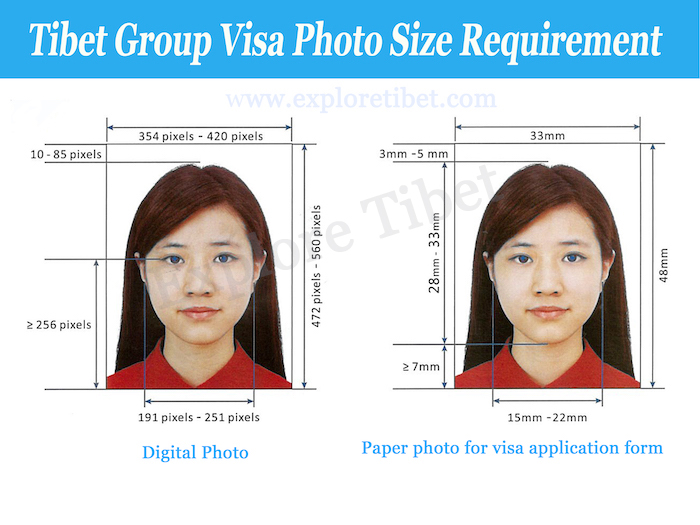Tibet Group Visa Required Photo Size by Explore Tibet