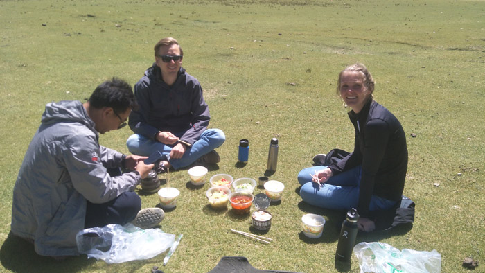 clients having lunch- Explore Tibet