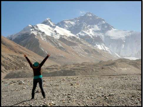 At the Everest Base Camp in Tibet