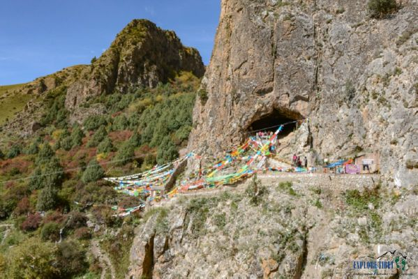 The limestone cave in which the jawbone was found, above a riverbed on the Tibetan plateau. Buddhist monks visiting the cave to pray discovered humanlike remains inside.