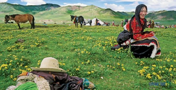 A nomadic settlement in the Golog Tibetan Prefecture of Qinghai Province